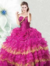 Floor Length Lace Up Quinceanera Gown Fuchsia for Military Ball and Sweet 16 and Quinceanera with Ruffles and Ruffled Layers