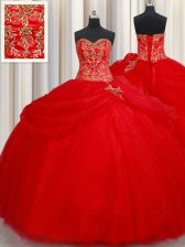 Best Pick Ups Sweetheart Sleeveless Lace Up Sweet 16 Dress Red Tulle