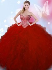 Hot Sale Beading 15 Quinceanera Dress Wine Red Lace Up Sleeveless Floor Length