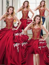 Sophisticated Four Piece Pick Ups Sweetheart Sleeveless Lace Up 15th Birthday Dress Wine Red Taffeta
