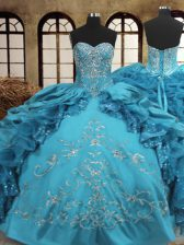 Extravagant Teal Organza and Taffeta Lace Up Sweetheart Sleeveless Floor Length Sweet 16 Dress Beading and Embroidery and Ruffles