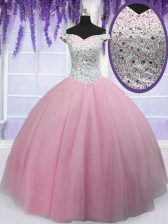 Off The Shoulder Short Sleeves Tulle Quinceanera Dress Beading Lace Up