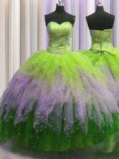 Elegant Visible Boning Sweetheart Sleeveless Tulle Quinceanera Dress Beading and Ruffles and Sequins Lace Up