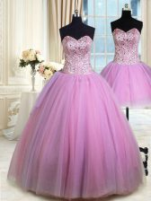 Three Piece Lilac Ball Gowns Beading Sweet 16 Quinceanera Dress Lace Up Tulle Sleeveless Floor Length