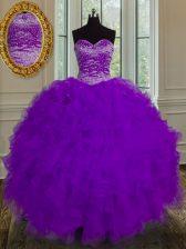 Elegant Beading and Ruffles 15 Quinceanera Dress Eggplant Purple Lace Up Sleeveless Floor Length