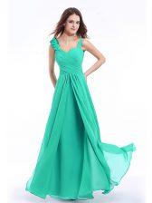 Straps Turquoise Zipper Prom Dress Hand Made Flower Sleeveless Floor Length