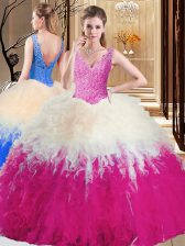 Tulle Sleeveless Floor Length Vestidos de Quinceanera and Lace and Appliques and Ruffles