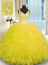Yellow Zipper 15 Quinceanera Dress Beading and Ruffles Sleeveless Floor Length