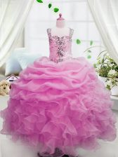 Sweet Pink Ball Gowns Organza Square Sleeveless Beading and Ruffles and Pick Ups Floor Length Zipper Little Girl Pageant Gowns