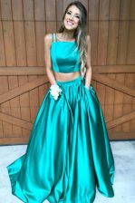 Spectacular Zipper Prom Dresses Green for Prom and Party with Ruching Sweep Train