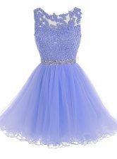 Scoop Sleeveless Chiffon Homecoming Dress Beading and Lace Zipper