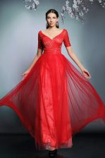 Luxury Sequins Floor Length Empire Short Sleeves Red Prom Gown Zipper