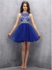 Chic Scoop Beading Prom Gown Royal Blue Zipper Sleeveless Mini Length