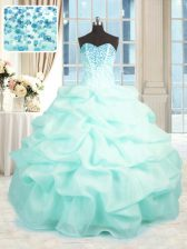 Aqua Blue Ball Gowns Organza Sweetheart Sleeveless Beading and Ruffles Floor Length Lace Up 15 Quinceanera Dress