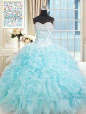 Fitting Aqua Blue Sleeveless Ruffles Floor Length Sweet 16 Dress