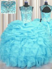 Inexpensive See Through Aqua Blue Organza Lace Up Scoop Sleeveless Floor Length Quinceanera Gown Beading and Ruffles and Pick Ups