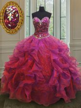 Organza and Sequined Sleeveless Floor Length Quinceanera Dress and Beading and Ruffles