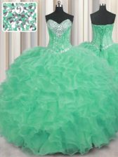 Elegant Apple Green Organza Lace Up Sweetheart Sleeveless Floor Length Quinceanera Dresses Beading and Ruffles