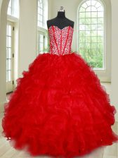 Classical Red Sweetheart Lace Up Beading and Ruffles 15th Birthday Dress Sleeveless