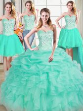 Perfect Four Piece Sleeveless Beading and Ruffles and Pick Ups Lace Up Sweet 16 Quinceanera Dress