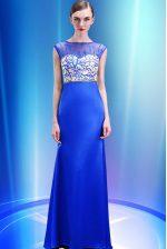 Scoop Sleeveless Zipper Prom Gown Royal Blue Satin