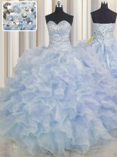 Light Blue Sweetheart Neckline Beading and Ruffles Quinceanera Dress Sleeveless Lace Up
