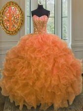 Orange Ball Gowns Sweetheart Sleeveless Organza Floor Length Lace Up Beading and Ruffles Sweet 16 Dress