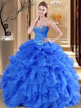 Fancy Royal Blue Sweetheart Neckline Beading and Ruffles 15 Quinceanera Dress Sleeveless Lace Up