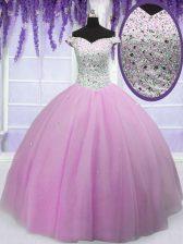Off the Shoulder Floor Length Lilac Vestidos de Quinceanera Tulle Short Sleeves Beading