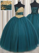 Customized Teal Lace Up Sweetheart Beading Sweet 16 Quinceanera Dress Tulle Sleeveless