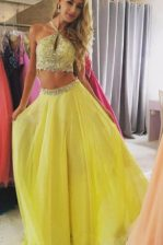 Halter Top Floor Length Zipper Prom Gown Yellow for Prom and Party with Beading