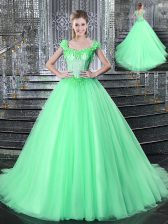 Straps Apple Green Sleeveless Tulle Brush Train Lace Up Ball Gown Prom Dress for Military Ball and Sweet 16 and Quinceanera
