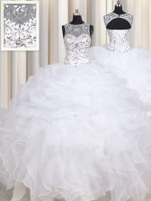 Straps Beading and Ruffles Sweet 16 Dress White Lace Up Sleeveless Floor Length