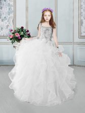 Excellent Square White Ball Gowns Beading and Ruffles Little Girls Pageant Dress Zipper Organza Sleeveless Floor Length