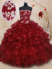 Organza Strapless Sleeveless Lace Up Beading and Ruffles and Ruffled Layers Quinceanera Dresses in Burgundy