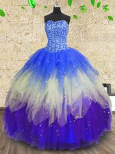New Arrival Sweetheart Sleeveless Quinceanera Gowns Floor Length Beading and Sequins Multi-color Tulle