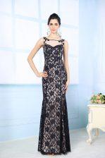 Spectacular Scoop Sleeveless Side Zipper Prom Party Dress Black Chiffon