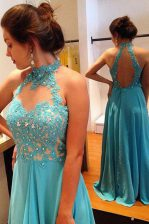 Sweet Scoop Backless Prom Party Dress Blue for Prom and Party with Beading and Appliques Sweep Train