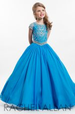 Pretty Scoop Blue Organza Zipper Little Girls Pageant Gowns Cap Sleeves Floor Length Beading