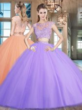 Elegant Scoop Cap Sleeves Sweet 16 Quinceanera Dress Floor Length Beading and Appliques Lavender Tulle