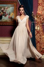 Champagne Cap Sleeves Chiffon Side Zipper Prom Evening Gown for Prom and Party