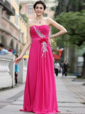 Hot Pink Zipper Sweetheart Beading and Hand Made Flower Evening Dress Chiffon Sleeveless Brush Train