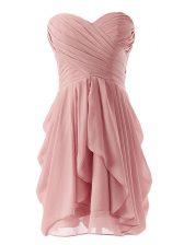 Pink Chiffon Lace Up Sweetheart Sleeveless Mini Length Dress for Prom Ruching