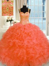 Fashionable Orange Red Organza Lace Up Vestidos de Quinceanera Sleeveless Floor Length Embroidery and Ruffles