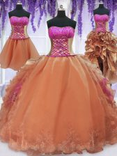 Four Piece Orange Organza Lace Up Strapless Sleeveless Floor Length Sweet 16 Dress Embroidery and Ruffles