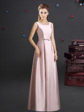 Pink Zipper Square Bowknot Vestidos de Damas Elastic Woven Satin Sleeveless