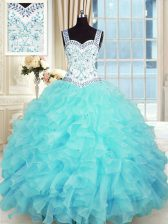 Beautiful Aqua Blue Sleeveless Organza Lace Up Quinceanera Dresses for Military Ball and Sweet 16 and Quinceanera