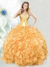Captivating Sleeveless Lace Up Floor Length Beading and Ruffles Quinceanera Gowns