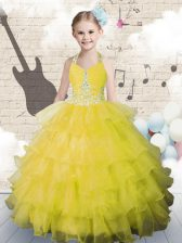 Superior Ruffled Halter Top Sleeveless Lace Up Kids Formal Wear Yellow Green Organza