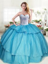 Traditional Aqua Blue Lace Up Sweetheart Beading and Ruffled Layers Vestidos de Quinceanera Tulle Sleeveless